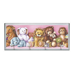 illumalite Designs - Cuddletime Plaque with Pegs - Includes hardware for hanging. Hand painted white border. Four painted wooden pegs. Ready to be hung. Made from wood. Made in USA. 25.5 in. W x 4 in. D x 10 in. H (4 lbs.)Adorable teddy bears are featured on this charming plaque. This plaque is the ideal way to decorate your child's room!