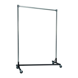 Z Racks - Heavy Duty Z-Rack 5 ft. Single Rail Garment R - Base Color: Black. 500lb capacity. 14 gauge, 60 in. Long steel base (Environmentally safe powder coated finish ). 16 gauge, 84 in. upright bars and hang rail. 1 5/16 outside diameter upright bars and hang rail. Grey non-marking soft rubber with TP center 4 in. casters. Made in the USA. 63 in. L x 23 in. W x 91 in. HWith 82 in. of vertical hang space, and 58 in. of horizontal space, this Z- rack boasts the extra room you need to expand. Because it is extra-tall, our Z-Rack is used by bridal shops, formal wear stores, church choirs and costumers alike. But that doesn�۪t mean it wouldn�۪t be perfect for your organizational needs. With a five foot base, seven foot uprights, and 500 lbs in load capacity, we think you�۪ll find it to be an all-purpose addition to any garage, basement or storage unit.