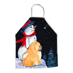 Caroline's Treasures - Snowman with Chow Chow Apron - Apron, Bib Style, 27 in H x 31 in W; 100 percent  Ultra Spun Poly, White, braided nylon tie straps, sewn cloth neckband. These bib style aprons are not just for cooking - they are also great for cleaning, gardening, art projects, and other activities, too!