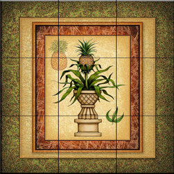 The Tile Mural Store (USA) - Tile Mural - Pineapple Plant   - Kitchen Backsplash Ideas - This beautiful artwork by Dan Morris has been digitally reproduced for tiles and depicts a pineapple plant in a large pot.  With our enormous selection of tile murals of tropical plants and flowers you can bring your kitchen backsplash tile project to life. A decorative tile mural with plants and flowers is an impressive kitchen backsplash idea and decorative flower tiles also work great in the bathroom. Add splashes of color and life to your tile project with images of flowers on tiles and tiles with pictures of plants.