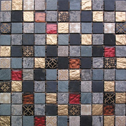 Royal Gold Stone And Glass Tile Mosaic Backsplash, Box - Sold by the box of 11 sheets
