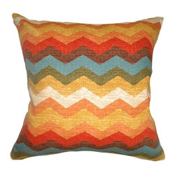 """The Pillow Collection - Gail Zigzag Pillow, Autumn, 18"""" x 18"""" - This cheerful and colorful throw pillow is an ideal accent piece in your home. This square pillow features the color palette of Autumn in red, orange, white, yellow, blue, green and brown. The zigzag print pattern of this decor pillow creates an upbeat vibe. The 18"""" pillow is made from high-quality 100% cotton fabric. Hidden zipper closure for easy cover removal.  Knife edge finish on all four sides.  Reversible pillow with the same fabric on the back side.  Spot cleaning suggested."""