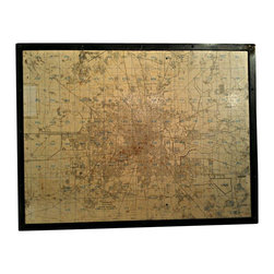 ReCoop Designs - Small Steel Framed Vintage Houston Map - This vintage map of Houston was pulled from a local midtown warehouse inside the 610 loop. It was industrially cleaned, wrapped in steel, and fastened with rivets.