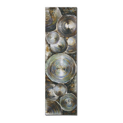 Uttermost - Uttermost Tin Can Alley Wall Art / Wall Decor X-15243 - This frameless, hand painted artwork is painted on canvas, then stretched and applied to wooden stretching bars. Features a high gloss finish with raised areas giving a 3-dimensional effect for added interest. Due to the handcrafted nature of this artwork, each piece may have subtle differences.