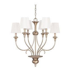 Capital Lighting Fixture Company - Ansley Sable Six Light Chandelier with Shades - -Includes 10-Feet of chain and 15-Feet of wire  -Canopy Length (in.): 5.4  -Canopy Width (in.): 5.4  -Canopy Extension (in.): 1.65  -Full Fixture Lamping: 6-60W-C  -UL Listed. Rated for Dry Environments. Capital Lighting Fixture Company - 4666SA-558