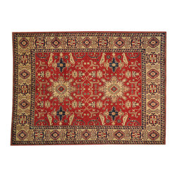 1800GetARug.com - 8'x11' Red Kazakh 100% Wool Hand Knotted Tribal Design Oriental Rug Sh18560 - 8'x11' Red Kazakh 100% Wool Hand Knotted Tribal Design Oriental Rug Sh18560
