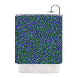 """Kess InHouse - NL Designs """"Swirling Vines"""" Blue Green Shower Curtain - Finally waterproof artwork for the bathroom, otherwise known as our limited edition Kess InHouse shower curtain. This shower curtain is so artistic and inventive, you'd better get used to dropping the soap. We're so lucky to have so many wonderful artists that you'll probably want to order more than one and switch them every season. You're sure to impress your guests with your bathroom gallery in addition to your loveable shower singing."""