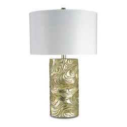 "Currey & Company - Currey & Company Silver Granello Table Lamp - We love the uniqueness of this table lamp!  It has an interesting silver/gold finish and comes with a 19 x 19 x 11.5 white parchment shade. The lamp measures 19"" in diameter X 30""H. It takes a single 150 watt max bulb (BULB IS NOT INCLUDED)."