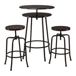 Industrial Adjustable Bar Table Set - The Industrial Adjustable Bar Table Set ups the edge factor of a room in a huge way. A chic and designer look that is sturdy and architecturally complex, the unique 2-tiered bar table easily adjusts to the perfect height with a quick swivel, and the matching stools follow suit. A fun, sophisticated look, this set makes a perfect addition for small and large spaces alike.
