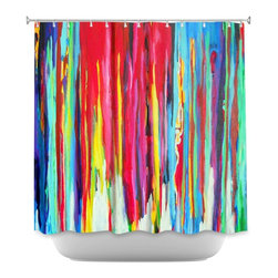 DiaNoche Designs - Shower Curtain Artistic - Neon Abstract - DiaNoche Designs works with artists from around the world to bring unique, artistic products to decorate all aspects of your home.  Our designer Shower Curtains will be the talk of every guest to visit your bathroom!  Our Shower Curtains have Sewn reinforced holes for curtain rings, Shower Curtain Rings Not Included.  Dye Sublimation printing adheres the ink to the material for long life and durability. Machine Wash upon arrival for maximum softness. Made in USA.  Shower Curtain Rings Not Included.