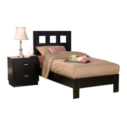 Alpine Furniture - Manhattan 3-Pc Bedroom Set (California King) - Choose Bed Size: California King. Includes bed, nightstand and chest. Bed with complete set of slats. Box spring not required. Chest with five drawers. Nightstand with two drawers. Side mounted ball bearing metal glides. Six months warranty. Made from select solids and veneer. Dark espresso finish. Made in Indonesia. No assembly required. Twin bed: 77.5 in. L x 41.5 in. W x 46 in. H. Full bed: 77.5 in. L x 56.5 in. W x 46 in. H. Queen bed: 82.5 in. L x 63 in. W x 46 in. H. California king bed: 87.75 in. L x 75.5 in. W x 46 in. H. Eastern king bed: 82.5 in. L x 79.25 in. W x 46 in. H. Chest: 34 in. W x 19 in. D x 45 in. H. Nightstand: 24 in. W x 19 in. D x 24 in. H