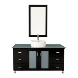 "JWH Imports - 47"" Grand Lune Large Single Vessel Sink Modern Bathroom Vanity with Glass Top - Go for the grand dame of contemporary design with a chic vanity and sink. Two sets of drawers give you plenty of space for organization in addition to a spacious storage area underneath the sink. Choose from several different wood finishes, countertop materials and sinks for your ideal design. All that's left for you to do is pick out a modern faucet to complete the look."