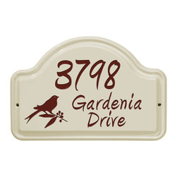 Bird Ceramic Address Plaque - This winsome Bird Address Plaque defines your home and adds a touch of character to an exterior. Featuring an arched design.