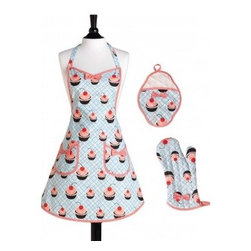 Diner Cupcakes Apron Set - Have a mom who's vintage at heart? She'll love this diner-inspired apron set!