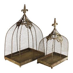 Kathy Kuo Home - Rustic Wire Decorative Bird Cages  - Set of 2 - This unique, rustic metal  set is more chic than shabby - offering a unique take on an antique style birdcage.  Easily used as a candle holder or as a protective and decorative accessory in the garden or pantry,  this ornately detailed set are as beautiful as they are functional.