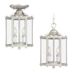Sea Gull Lighting - Sea Gull Lighting 5232 Incandescent Two Light Hall Foyer Fixture from the Bretto - Two Light Hall Fixture with Clear Glass Panes All AroundFixture Can be Mounted Close to Ceiling or as a PendantUL Listed for Dry LocationsRequires 2 - Candelabra Torpedo 40w max Bulbs (Not Included)Clear Bulb Recommended