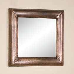 Square Lightly Hammered Copper Mirror - Antique Copper - Adding both style and sophistication to any room, this Antique Copper mirror features a rustic, lightly hammered rim with brass accent trim.