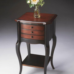 Butler - Butler Artists' Originals Accent Table In Cafe Noir - Hand painted finish on selected hardwoods and wood products. Cherry veneer top and drawer fronts. Three drawers with antique brass finished hardware. Lower display shelf.