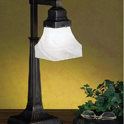 Meyda - 20 Inch H Country Bungalow Desk Lamp Table Lamps - Color Theme: Alabaster White