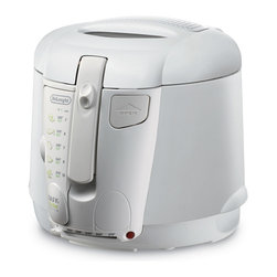 Delonghi - Deep Fryer, CoolTouch - DeLonghi's D677UX 2.2 Lb. Cool-Touch Deep Fryer large food capacity allows you to accommodate almost any type of food. This ingenious system makes draining and recycling cooking oil safe and easy. Adjustable thermostat with indicator light allows you to set frying temperature from 300 to 370 degrees, giving the flexibility to fry foods just the way you like them. Viewing window in lid allows you to monitor the cooking process safely. Other features include exterior lift handle, detachable cord with patented condensation shield to prevent dripping onto the cord connection, safety features, and non-stick interior.Large 2.2-lb. food capacity Patented cleaning system lets you drain the oil through a tube Adjustable thermostat with indicator light Viewing window Replaceable anti-odor and anti-vapor filters Exterior lift handle Detachable cord with patented condensation shield Non-stick interior Non-slip feet keep fryer in place Stay-cool exterior walls keep fryer safe to the touch   delonghi  d677ux  cool touch deep fryer  deep fryer  cool touch  2.2 lb. deep fryer  Package Contents: deep fryer manual / warranty  This item cannot be shipped to APO/FPO addresses