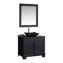 "Design Elements - Design Elements DEC105-36 Vanity in Espresso - The Oasis 36"" Single Sink Vanity Set is constructed of solid wood and provides a sleek design perfect for any contemporary bathroom remodel. The storage in this free-standing vanity set includes one large cabinet which houses a shelf easily accessible through double sliding doors and no hardware to maintain the simplicity of the cabinet. Allow your imagination to run wild as you decide how you would make use the top drawer, lined with LED lighting, which you can see into through the tempered glass counter top. This vanity is only available in espresso and comes as a complete set with a beautiful granite vessel sink and matching framed mirror."
