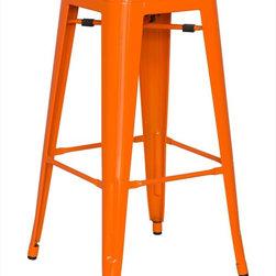 Chintaly Imports - Alfresco Galvanized Steel Bar Stool in Orange - Set of 4 - Alfresco Galvanized Steel Bar Stool in Orange - Set of 4
