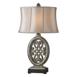 Uttermost - Barela Silver Table Lamp - All things silver are good. Lamps are good. And when the two are combined into a graceful airy design, it is wonderful. Invite this lamp home and let it make a statement about fabulous.