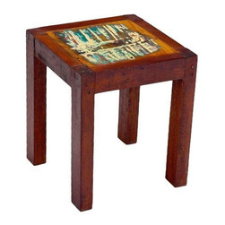 """Pre-owned Outrigger Reclaimed Wood Stool - If you�۪re looking for solid, stripped-down seating, especially in a snug space, the Outrigger Stool fits the bill. Or get a leg up when you�۪re retrieving things from high places. Barely-there paint left on the reclaimed wood provides a subtle accent to the no-nonsense design.    Benefits:    The Outrigger Stool is handmade from the wood of tropical fishing boats and iron from yesterday�۪s bridges. Our pieces, large and small, are playful, due to the color and weathering inherent in each boat we buy; sophisticated by nature of our in-house design team, and made to last a lifetime: We use only the highest-quality fishing-boat teak.    Care, cleaning and technical information:  Highly durable marine grade wood is perfect for both indoor and outdoor use. We have treated this item with a water based organic semi-gloss finish therefore cleaning is very simple.  Low in harmful VOC's (volatile organic compounds) it is comparable to oil-based varnish for its high resistance to abrasion, water and solvents. This item cleans up easily with soap and water. As it cures, the molecules become cross linked in a lattice-like pattern that is much more durable than the single-strand bonds formed by conventional water-based finishes. This makes it a good choice for high-wear interior applications such as tabletops. It will have a very slight shine to it.     Number of pieces included: 1    Additional Dimensions:   Seat Height 18""""    Color: Wood is a natural material that varies in color, grain pattern and over-all appearance and texture. While our product images are intended to represent a wide spectrum of a materials and meant to display various characteristics, they do not show all variations. Each piece has its own individual characteristics; no item is exactly the same although we do keep the colors schemes consistent. The wood grain and coloring do vary slightly."""