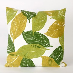 """Liora Manne - Mystic Leaf Square Indoor/Outdoor Pillow in Green - Features: -Available in 16.5"""" or 20.5"""" sizes. -Color: Green. -Content: 100% Polyester Microfiber. -Backing: 100% Polyester. -Handmade. -Indoor/Outdoor and antimicrobial. -Removable cover can be hand-washed. -Shape: Square. -Easy care and maintenance. -Combines intricate hand crafting with modern technology. Specification: -16"""" Dimensions: 16"""" H x 16"""" W x 5"""" D, 2 lbs. -20"""" Dimensions: 20"""" H x 20"""" W x 5"""" D, 2 lbs."""