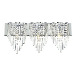 Z-Lite - Z-Lite 3 Light Crystal Vanity Light - Glittering crystal, draped perfectly over the chrome fixture, allows for a statement of unstrained elegance on this three light vanity.