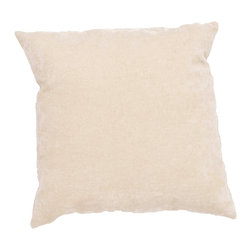"""Jaipur Rugs - Ivory/White color linen cotton luxe poly fill pillow 20""""x20"""" - The Luxe collection is affordable luxury in one small package. Luxe is offered in both a 20�x20� throw pillow and a lumbar size. Luxe is ultra-soft with a velvety texture and linen backing giving it an updated and sophisticated edge."""