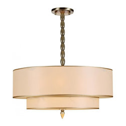 Joshua Marshal - Luxo Five Light Antique Brass Drum Shade Chandelier - Five Light Antique Brass Drum Shade Chandelier