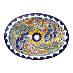 Casa Daya Tile - Made to order Talavera Hand Painted Mediterranean  Style  Sink, Large - The styles are influenced by the beautiful Spanish architecture in the Guanajauto state of Mexico from the time the Spanish inhabited the area starting in the 1520's.