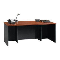 Sauder - Via Executive Office Desk in Classic Cherry F - Has an EverSheen top-coat that provides a clear, durable finish to resist heat, stains and scratches. Cord management system with 2 desk top grommet holes. Adjustable levelers. Made of engineered wood. Assembly required. 71 in. W x 35 in. D x 30 in. H. Optional pencil drawer: 38 in. W x 18 in. D x 4 in. H. Optional desk return: 59 in. W x 23 in. D x 30 in. H