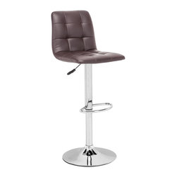 ZUO MODERN - Oxygen Barstool Espresso - Adjustable with button and tufting, the Oxygen is a breath of life to any bar, kitchen counter, or display stand. It has a chrome base and is fully wrapped in a washable leatherette.