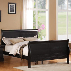 Standard Furniture - Lewiston Sleigh Bed - Inspired by French classic Louis Philippe furniture, Lewiston Black offers grand silhouettes, subtle curvature and striking design. Features: -Lewiston Collection. -Black finish. -Quality veneers over wood products and select solids used throughout. Group may contain some plastic parts. -Silver finished bail and swag hardware. -Allows for placement of decorative pillows. - Six drawer dresser and five drawer chest offers ample storage space. -Nightstand offers space for storing bedside items in the two drawers while the top allows for the placement of bedside items. -Manufacturer provides one year warranty. -Care: Surfaces clean easily with a soft cloth.