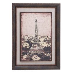 Benzara - Wood Framed art Brandishing a Grey Matte - Classy in appearance, this frame artwork ornaments the wall with its elegance and snazzy styling. Create character and add depth to your wall with this wood framed art. You can hang this artwork in your living space, bedroom or dining room to enhance the interior setting. This edgy sepia artwork of the Eiffel Tower adds vintage appeal to your wall. Brandishing a grey matte, this framed artwork is embellished with a dark wooden frame. This stylish wooden artwork breaks the monotony of solid and loud colors in the house. This vintage wooden frame adds drama and detail to your room. Made out of premium wood, this elegant artwork is durable in make and ensures long lasting use. This wooden artwork also acts as a wonderful gifting item.