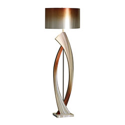 """Nova - Contemporary Nova Swerve Brushed Aluminum Floor Lamp - Distinctive and modern this Nova floor lamp looks smart next in your updated decor. It features a curved open-frame base that impresses with a brushed aluminum finish with rust highlights. A stout drum shade in rust and silver-colored aluminum completes this look. Brushed aluminum finish. Rust and silver aluminum drum shade. Takes one 100 watt 3-way bulb (not included). 62"""" high. Shade is 16"""" wide.  Brushed aluminum finish.   Rust and silver aluminum drum shade.   A Nova floor lamp design.  Takes one 100 watt 3-way bulb (not included).   62"""" high.   Shade is 16"""" wide."""