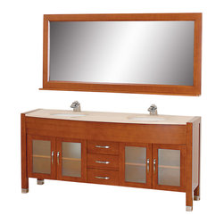 "Wyndham - Daytona 71"" Double Bathroom Vanity Set - Cherry/Ivory - The Daytona 71"" Double Bathroom Vanity Set - a modern classic with elegant, contemporary lines. This beautiful centerpiece, made in solid, eco-friendly zero emissions wood, comes complete with mirror and choice of counter for any decor. From fully extending drawer glides and soft-close doors to the 3/4"" glass or marble counter, quality comes first, like all Wyndham Collection products. Doors are made with fully framed glass inserts, and back paneling is standard. Available in gorgeous contemporary Cherry or rich, warm Espresso (a true Espresso that's not almost black to cover inferior wood imperfections). Transform your bathroom into a talking point with this Wyndham Collection original design, only available in limited numbers. All counters are pre-drilled for single-hole faucets, but stone counters may have additional holes drilled on-site.;Features: Constructed of environmentally friendly, zero emissions solid Oak hardwood, engineered to prevent warping and last a lifetime;12-stage wood preparation, sanding, painting and finishing process;Minimal assembly required;Highly water-resistant low V.O.C. sealed finish;Available pre-drilled for single-hole ;Unique and striking contemporary design;Practical Floor-Standing Design;Deep doweled drawers;Fully extending side-mount drawer slides;Soft-close concealed door hinges;Single-hole faucet mount ;Metal hardware with brushed chrome finish;Plenty of storage space;Brushed steel leg accents;Plenty of counter space;Includes drain and P-traps for easy assembly;Includes matching mirror;4 doors, 3 drawers;Weight: 380 lbs.;Dimensions: Vanity 70-3/4 x 22 x 33-1/2;Mirror 70-3/4 x 5 x 32"