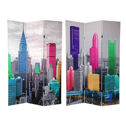 Oriental Furniture - 6 ft. Tall Colorful New York Scene Room Divider - The iconic Manhattan cityscape continues to catch the eye and the imagination of interior decorators and designers all over the world. Beautifully colorized New York skyscrapers on classic black white create particularly attractive variations of the ubiquitous New York City skyline photograph.