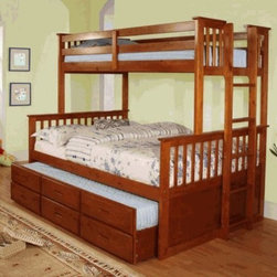 Youth Twin over Full Bunk Bed - This sturdy bunk bed features a side ladder for easy access to top twin, lower full bed with twin trundle and roomy drawers underneath.