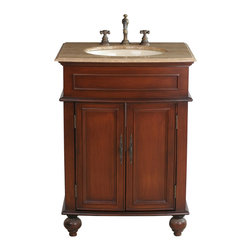 "Prince Single Sink Vanity With Travertine Marble Top - Add grace and elegance to a guest or master bath with the addition of the diminutive 26"" Prince Single Sink Vanity. The warm cherry finish and Travertine Marble Top blend in perfect harmony and add a marvelous aesthetic appeal to your traditional design. Two simple doors, featuring regal metal hardware, conceal the ample storage space below."