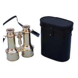 Handcrafted Nautical Decor - Solid Brass Binoculars w/ Leather Case 6'' - These beautiful Hampton Nautical Commander's Brass Binoculars with Leather Case 6'' are solid brass and make you feel like a true navigator when used. These binoculars have in-line prisms for improved field of view and have precision ground glass 1.75 inch (44 mm) diameter objective lenses. Focusing is accomplished using a knurled focusing knob on top of the binoculars. The binoculars have a leather strap and come with a handmade leather case.--------    Solid brass nautical binoculars--    --    Functional and decorative nautical decor--    20x magnification--    Easy focusing with knurled knob--    Leather strap and handmade leather case included for safe keeping--    Custom engraving/photo etching available; logos, pictures, and slogans can easily be put on any item. Typical custom order minimum for engraving is 100+ pieces. Minimum lead time to produce and engrave is 4+ weeks.--