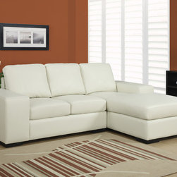 Monarch Specialties - Monarch Specialties Ivory Bonded Leather Match Sofa Lounger - Whether spending a cozy evening at home or entertaining your friends, this elegant sofa lounger will provide plenty of comfortable seating options without taking up too much space. Upholstered in a chic ivory bonded leather, this sectional is perfect for today's modern condos or smaller living spaces. Stretch out in style with this fashionable sofa lounger.