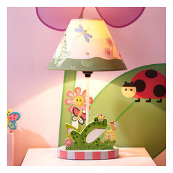Magic Garden Table Lamp - Spark your little princesses imagination and creativity with the Magic Garden Table Lamp. Hand-painted base, features the frog prince, smiling flowers and colorful butterflies. The tasteful light pink shade offers a comfortable lighting for your little one to read by. Required light bulb not included. Appropriate for ages 3 and up.