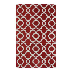 "Kaleen - Kaleen Revolution Collection Rev03-25 5'X7'9"" Red - The color Revolution is here! Trendy patterns with a fashion forward twist of the hottest color combinations in a rug collection today. Transform a room with the complete color makeover you were hoping for and leaving your friends jealous at the same time! Each rug is hand-tufted and hand-carved for added texture in India, with a 100% soft luxurious wool."