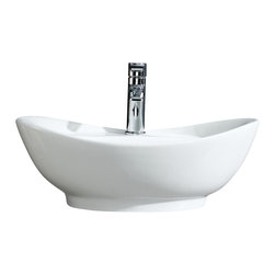 Fine FIxtures - Fine Fixtures White Vitreous China Large Oval Vessel Sink - Bring added elegance to your bathroom with this Fine Fixtures modern vessel sink.  A welcoming addition to any bathroom or powder room, constructed of durable and stain resistant vitreous china, this beveled round sink, simple yet fashionable is sure to leave an upgraded impression on your bathroom.