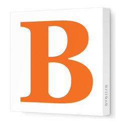 """Avalisa - Letter - Upper Case 'B' Stretched Wall Art, Pumpkin, 18"""" x 18"""" - Spell it out loud. These uppercase letters on stretched canvas would look wonderful in a nursery touting your little one's name, but don't stop there; they could work most anywhere in the home you'd like to add some playful text to the walls. Mix and match colors for a truly fun feel or stick to one color for a more uniform look."""