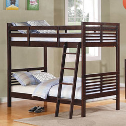 Homelegance - Homelegance Paula II Twin over Twin Bunk Bed in Dark Cherry - The refined European design in Paula II Collection looks fabulous with its charming modern look. The symmetrical slat design of the headboard and mirror plays together with coordinating case pieces to create a perfect harmony. Constructed of New Zealand pine solids and veneers in dark cherry finish featuring updated crescent shaped handles.