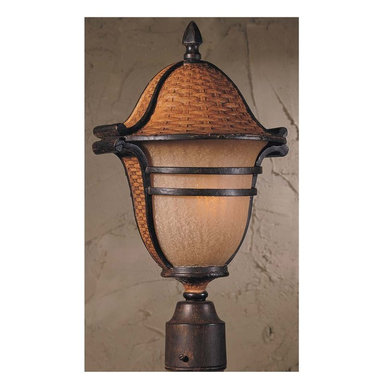 Triarch - Triarch Bombay Large Post X-11-62157 - Bombay solid cast aluminum outdoor post light in with aged wicker ans English bronze finish with cognac antiqued glass.